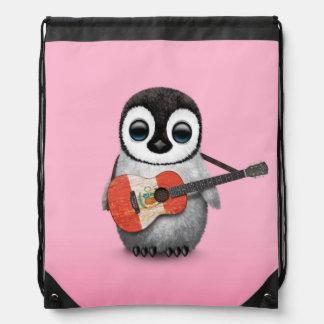 Baby Penguin Playing Peru Flag Guitar Pink Drawstring Bag