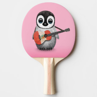 Baby Penguin Playing Peru Flag Guitar Pink Ping Pong Paddle