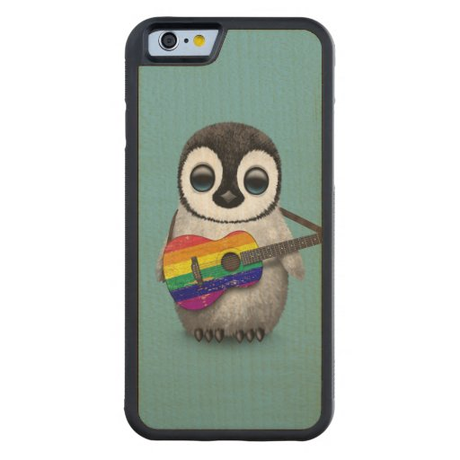 Baby Penguin Playing Rainbow Flag Guitar Blue Carved® Maple iPhone 6 Bumper