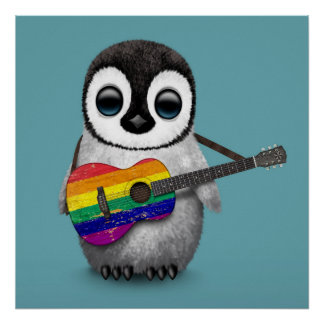 Baby Penguin Playing Rainbow Flag Guitar Blue Poster