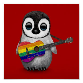 Baby Penguin Playing Rainbow Flag Guitar Red Poster