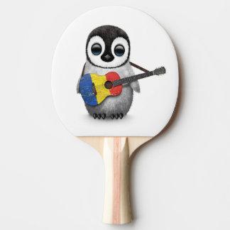 Baby Penguin Playing Romanian Flag Guitar