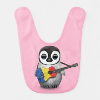 Baby Penguin Playing Romanian Flag Guitar Pink Bibs
