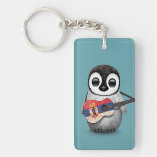 Baby Penguin Playing Serbian Flag Guitar Blue Double-Sided Rectangular Acrylic Key Ring