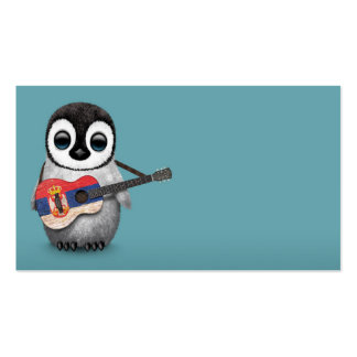 Baby Penguin Playing Serbian Flag Guitar Blue Pack Of Standard Business Cards