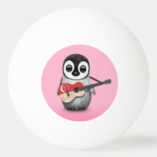 Baby Penguin Playing Singapore Flag Guitar Pink