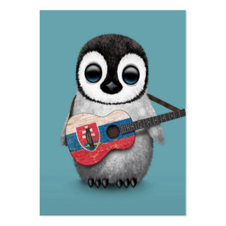 Baby Penguin Playing Slovakian Flag Guitar Blue Business Card