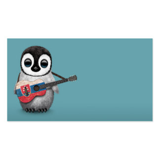 Baby Penguin Playing Slovakian Flag Guitar Blue Pack Of Standard Business Cards