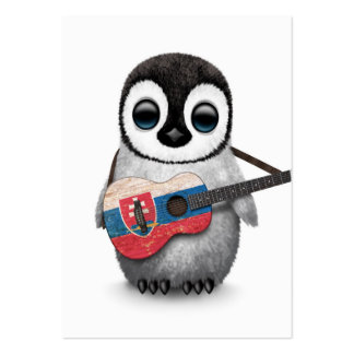 Baby Penguin Playing Slovakian Flag Guitar Pack Of Chubby Business Cards
