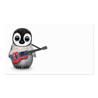 Baby Penguin Playing Slovakian Flag Guitar Pack Of Standard Business Cards