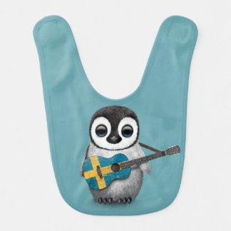 Baby Penguin Playing Swedish Flag Guitar Blue Bib