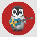 Baby Penguin Playing Swedish Flag Guitar Red Round Stickers