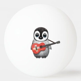 Baby Penguin Playing Swiss Flag Guitar