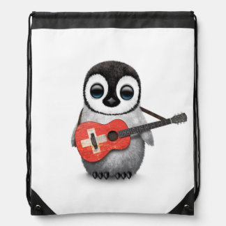 Baby Penguin Playing Swiss Flag Guitar Drawstring Bag