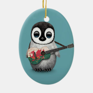 Baby Penguin Playing Welsh Flag Guitar Blue Christmas Ornament