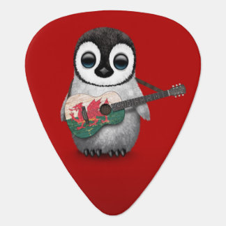 Baby Penguin Playing Welsh Flag Guitar Red Guitar Pick
