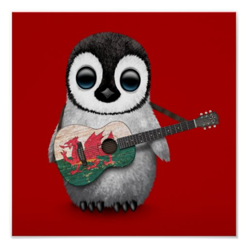 Baby Penguin Playing Welsh Flag Guitar Red Print