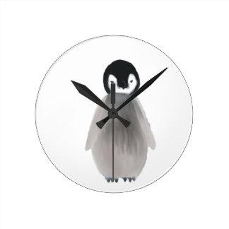Baby Penguin Round Clock