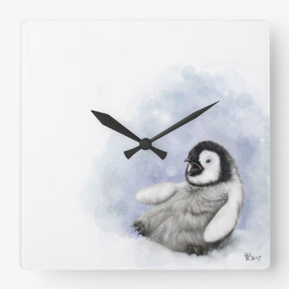 Baby Penguin Slipping Wall Clock
