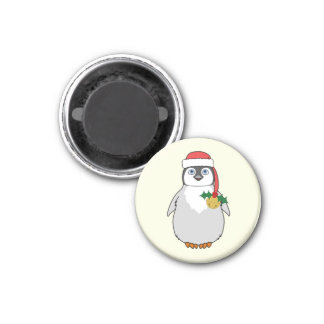 Baby Penguin with Red Santa Hat & Gold Bell 3 Cm Round Magnet