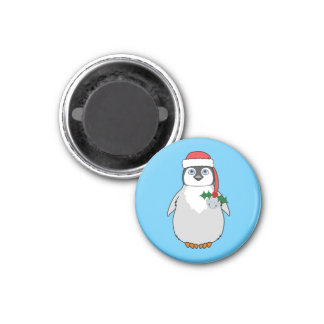 Baby Penguin with Red Santa Hat & Silver Bell 3 Cm Round Magnet