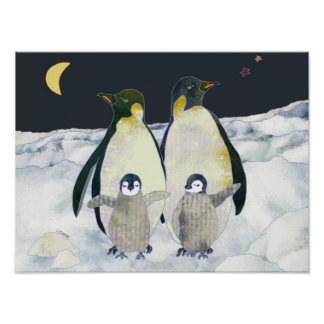Baby Penguins Enjoy Winter Holidays in Antarctica Poster