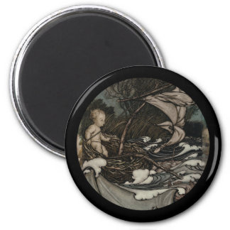 Baby Peter Pan on a Leaf 6 Cm Round Magnet