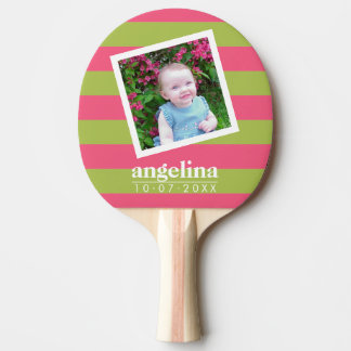 Baby Photo and Birthday Colorful Striped Pattern Ping Pong Paddle