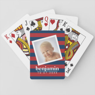 Baby Photo and Birthday Cute Boy Striped Pattern Playing Cards