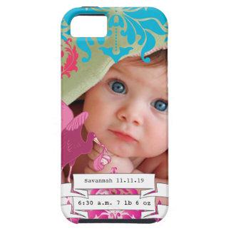 Baby Photo Baby Stats Damask Burnt Edge iPhone 5 Case For The iPhone 5