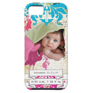 Baby Photo Baby Stats Damask Burnt Edge iPhone iPhone 5 Covers