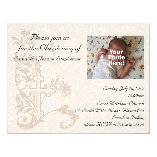 Baby Photo Christening Invitation