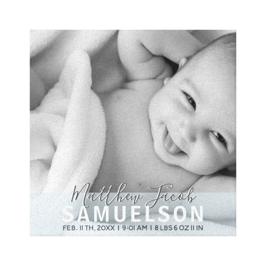 BABY PHOTO Keepsake Memory Blue BOY Wall Canvas Print