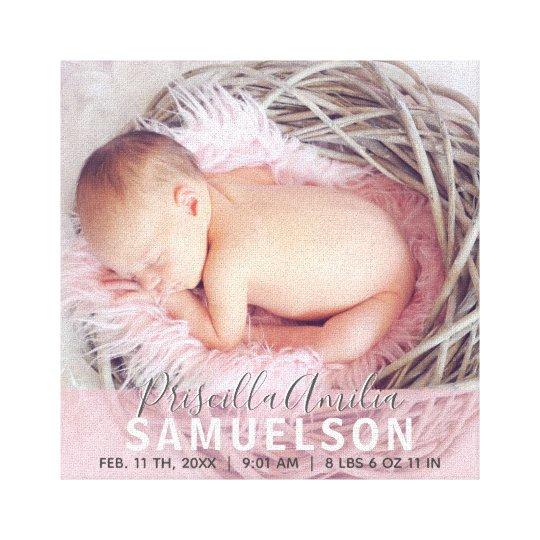 BABY PHOTO Keepsake Memory Pink Girl Wall Canvas Print