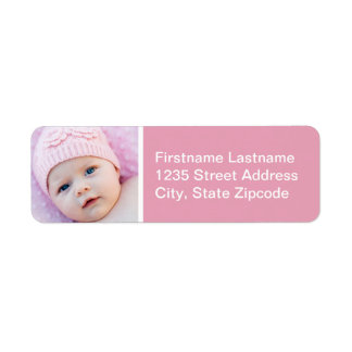 Baby Photo Return Address Labels | Rose Pink