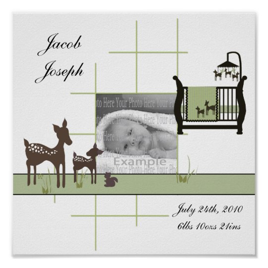 Baby Photo Wall Poster with Deer