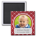 Baby Photo With Name & Date Quatrefoil Red Square Magnet