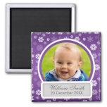 Baby Photo With Name & Date Winter Snowflake