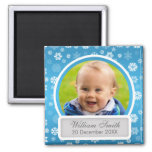 Baby Photo With Name & Date Winter Snowflake Blue