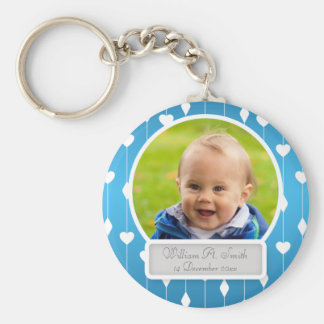 Baby Photo With Name Hearts & Diamonds Blue Key Ring