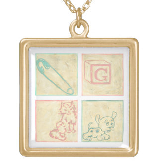 Baby Picture Blocks by Chariklia Zarris Gold Plated Necklace
