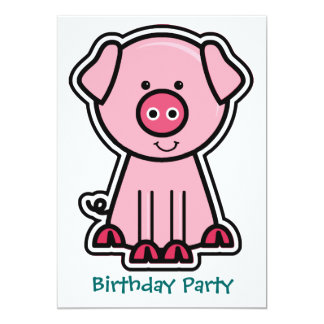 Baby Pig Sticker Birthday Party Card