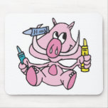 baby pig with crayons mouse pads