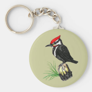 Baby Pileated Woodpecker Keychain