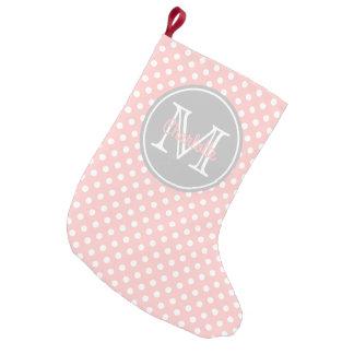 Baby Pink and Ash Grey Polka Dot Monogram Small Christmas Stocking