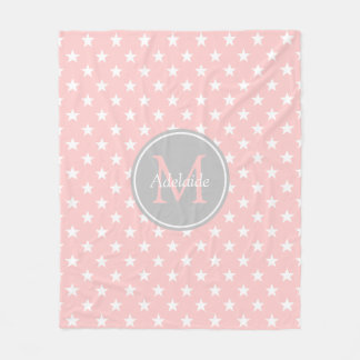 Baby Pink and Ash Grey Stars Monogram Fleece Blanket