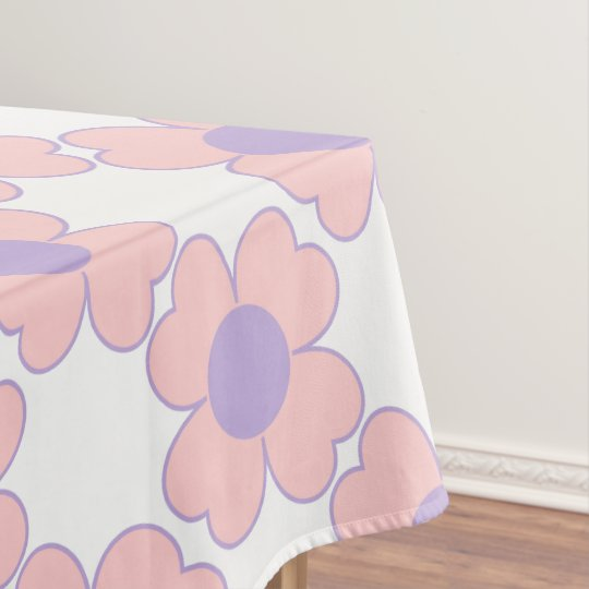 Baby Pink and Cottage Lavender Heart Flowers Tablecloth