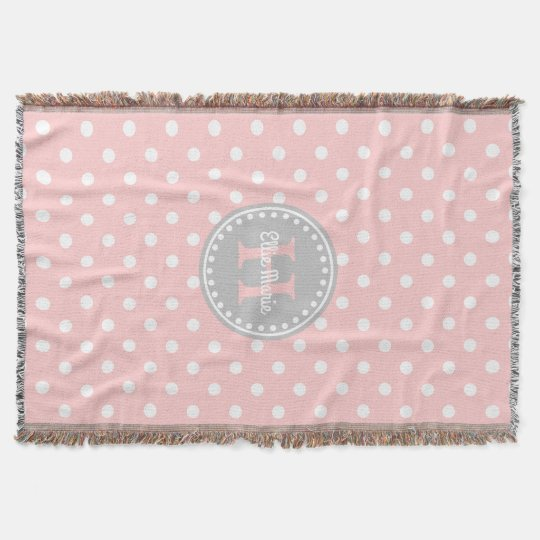 Baby Pink and White Polka Dot Monogram Throw