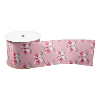 Baby Pink And White Whimsy Butterflies Satin Ribbon