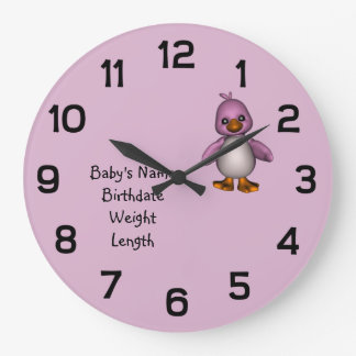 Baby Pink Bird with Baby's Name Personalized Wallclocks